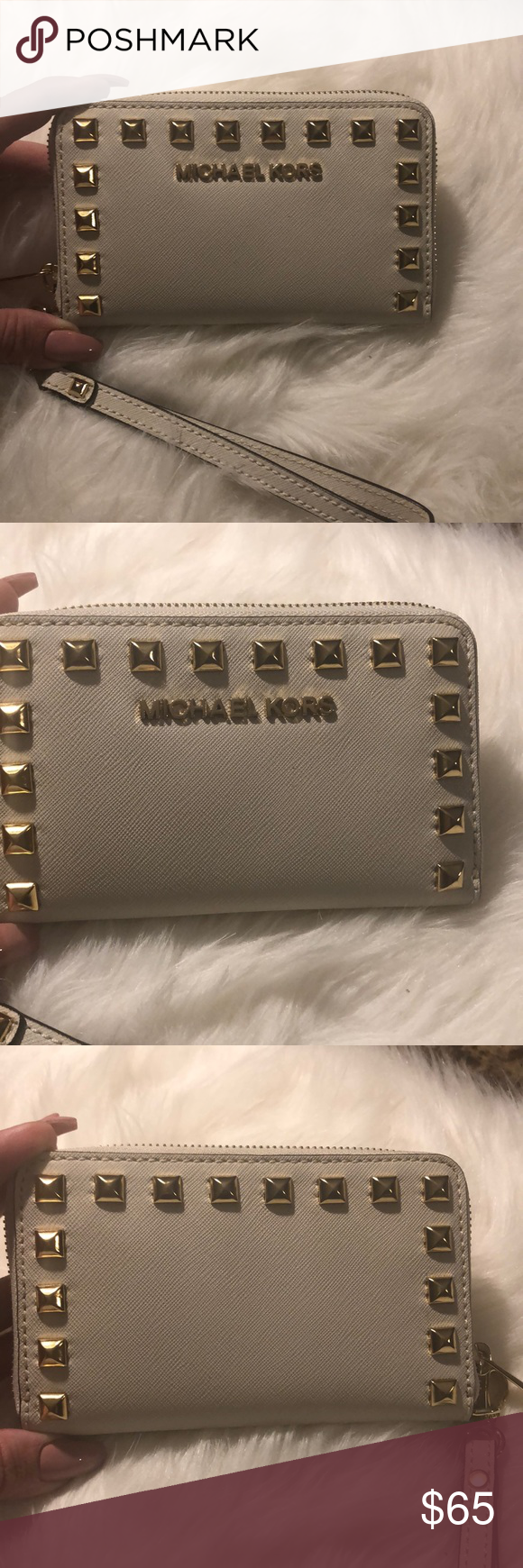 f3e83d779fdc ... australia sunday nite flash salemk studded wallet michael kors studded  wallet with detachable strap cream 3c301