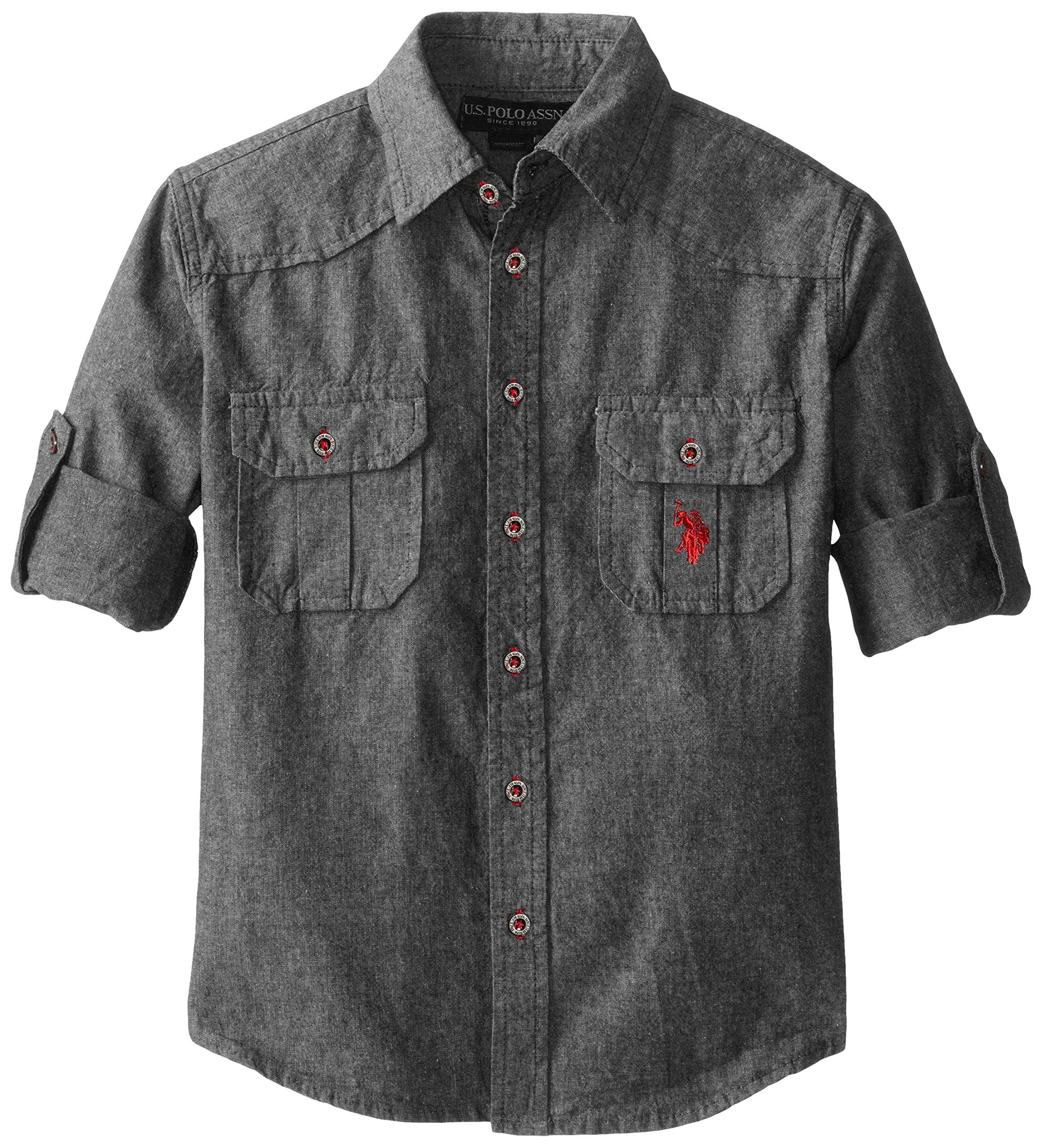 Polo Assn Boys Long Sleeve Chambray Sport Shirt U.S