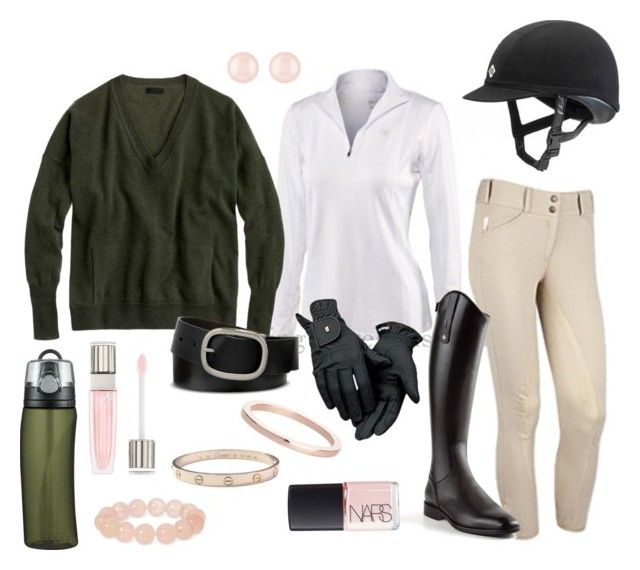 Pearly Pink On Forest Green by equestrianartist on Polyvore featuring J.Crew, Ariat, Cartier, Henri Bendel, Wallis, Mixit, Lancôme, NARS Cosmetics and Roeckl