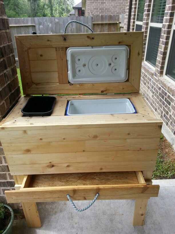 Diy Cooler/trash Can Stand W/drawer For Patio! Hubby Did A Great Job!
