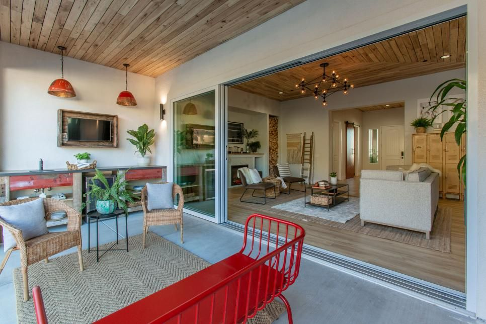 Outdoor Living Space On The Patio With Fully Opening Back Doors And Wood Labeled Ceiling House Victoria House Home