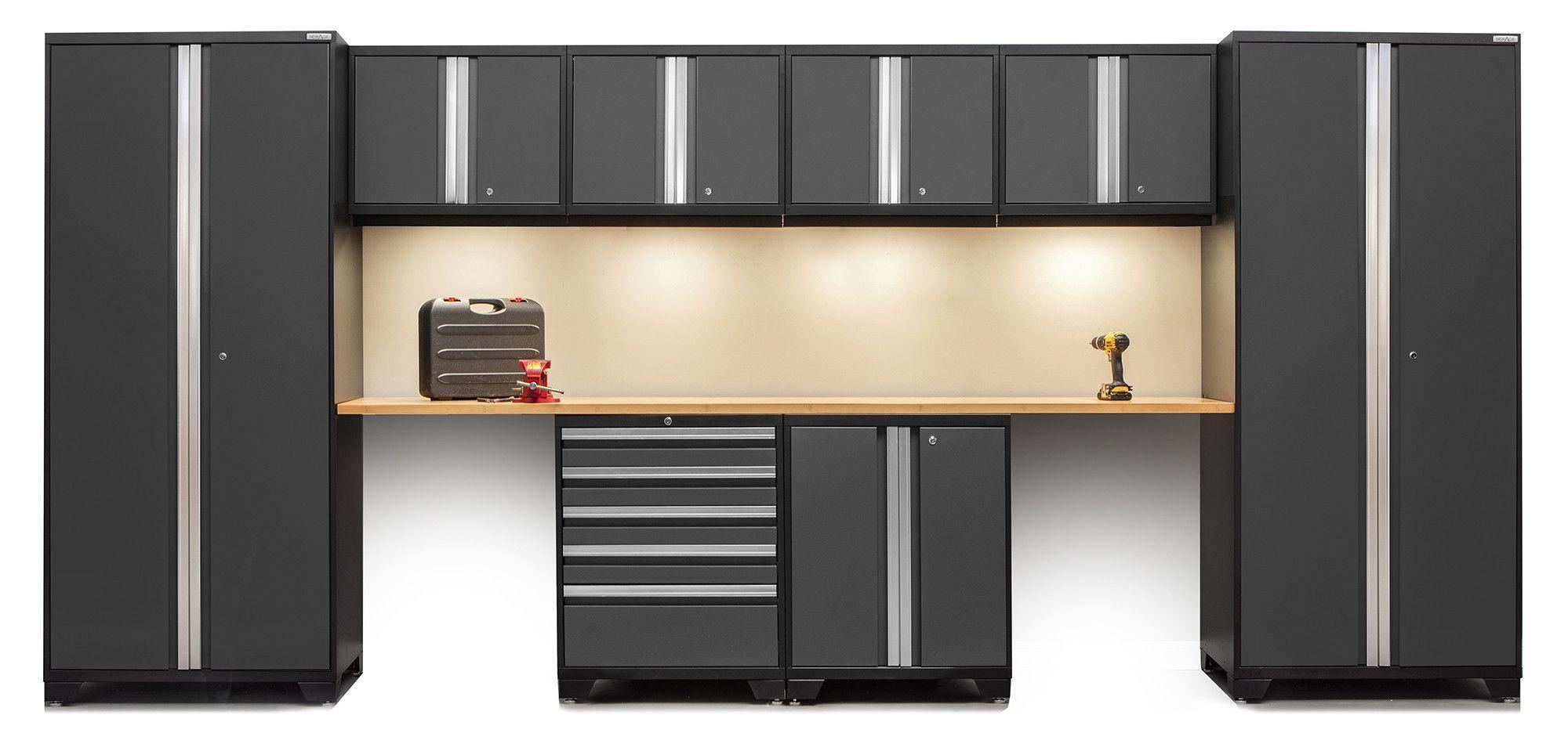 Pro Series Piece Garage Storage Cabinet Set with Worktop