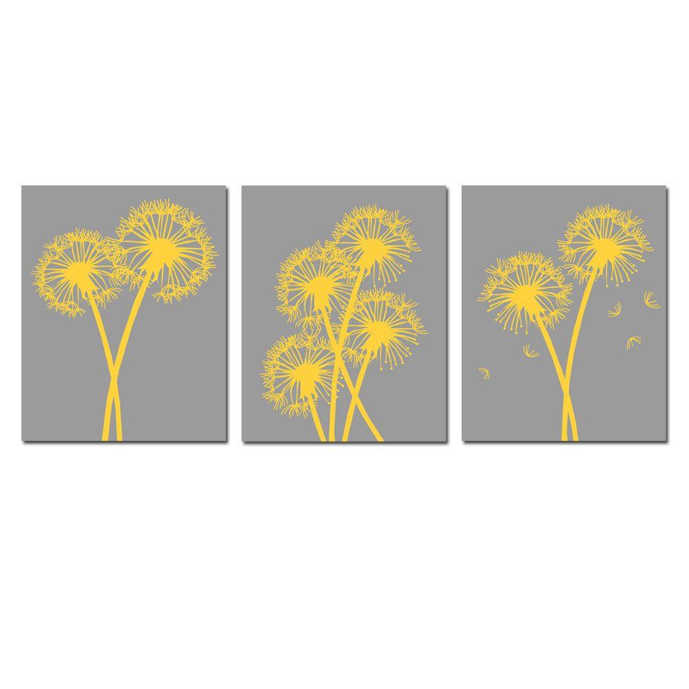 Modern Dandelion Trio - Set of Three 8x10 Coordinating Floral Prints ...