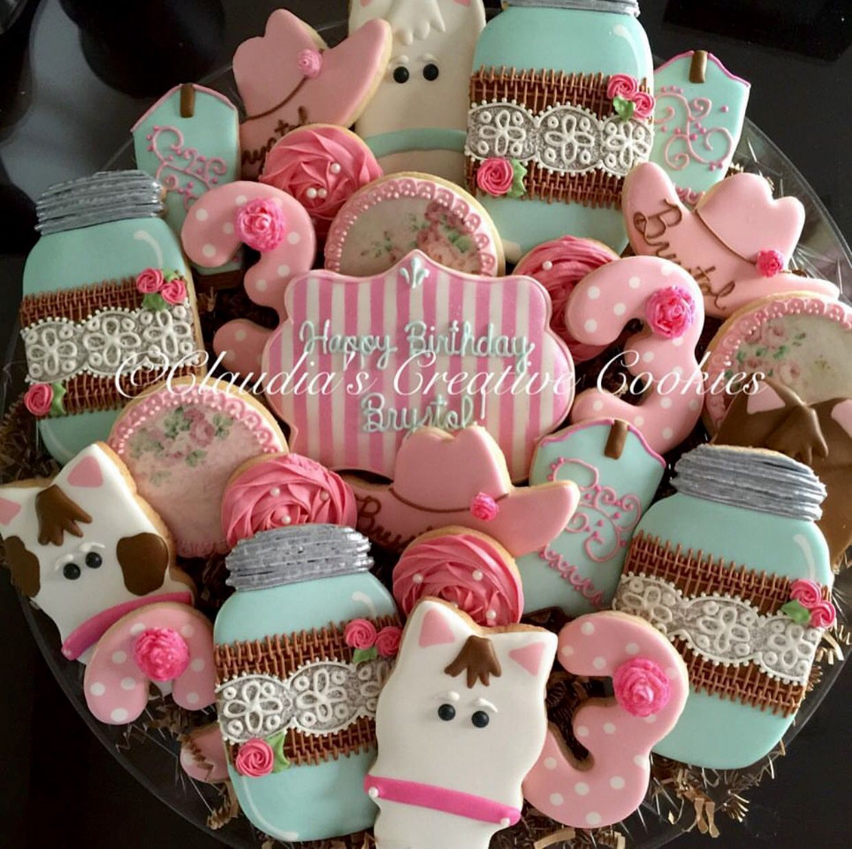 Cowgirl Birthday Decorations Vintage Shabby Chic Western Birthday Cookies Horses Cowboy Hats