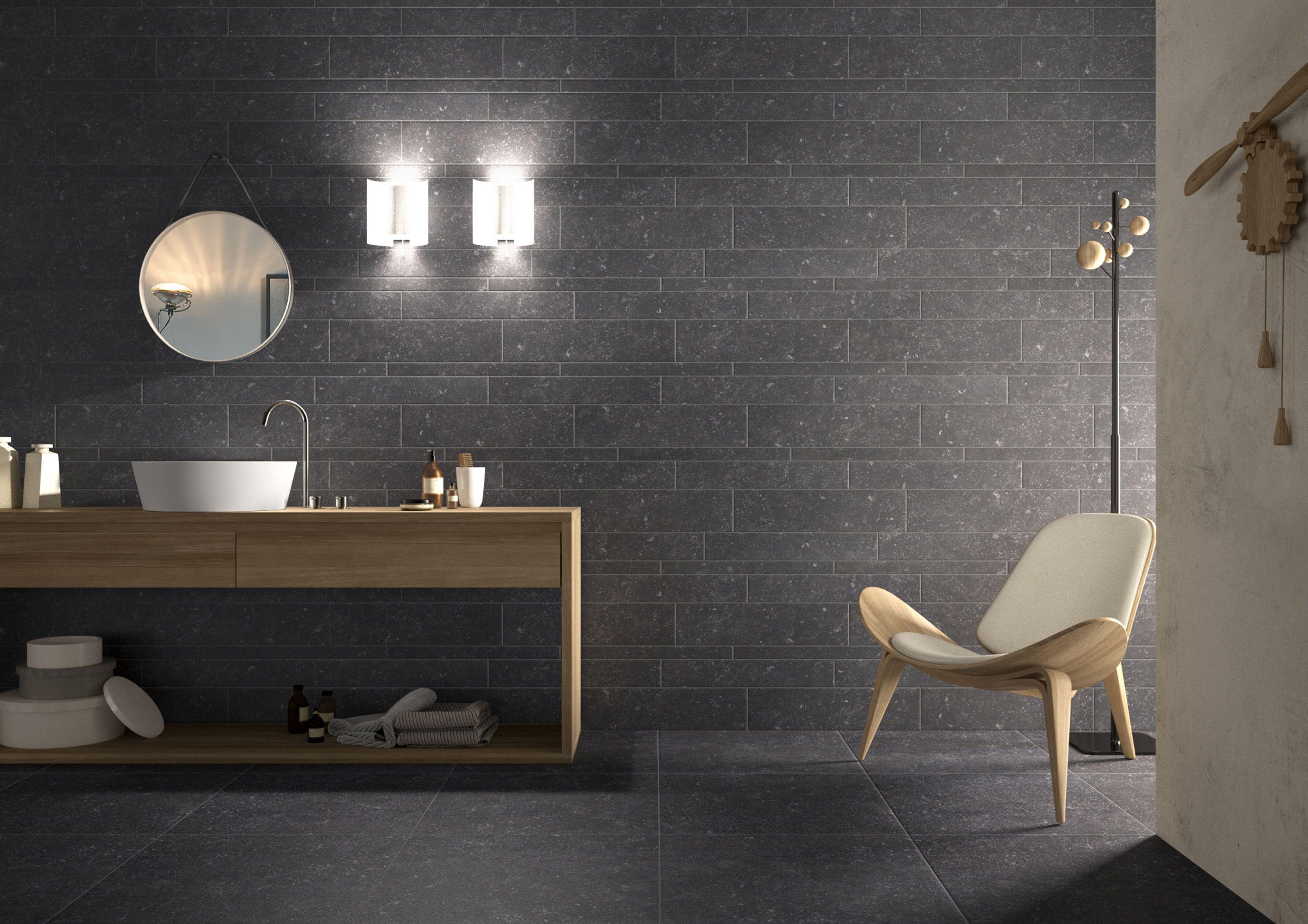 Bagno pietra legno chiaro bagno sotto scandinavian bathroom bathroom flooring e tiles for Bagno moderno grigio