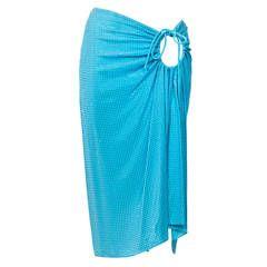 Celine Aquamarine Swarovski Drawstring Skirt