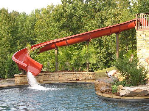 Slip And Slide Pool Water Slide Pool Houses Dream Pools