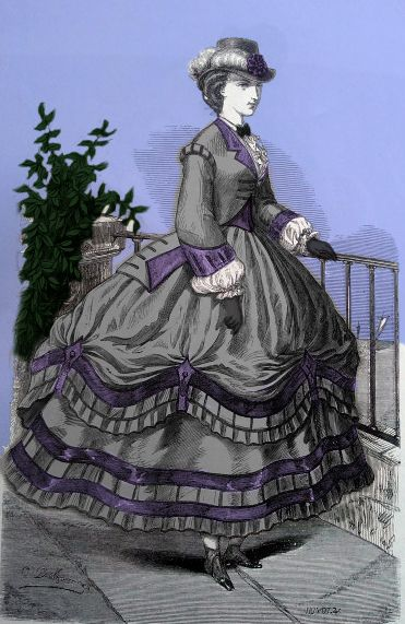 Original 1863 fashion plate calls for ecru mohair and violet cashmere, and violet velvet and narrow black velvet ribbon.