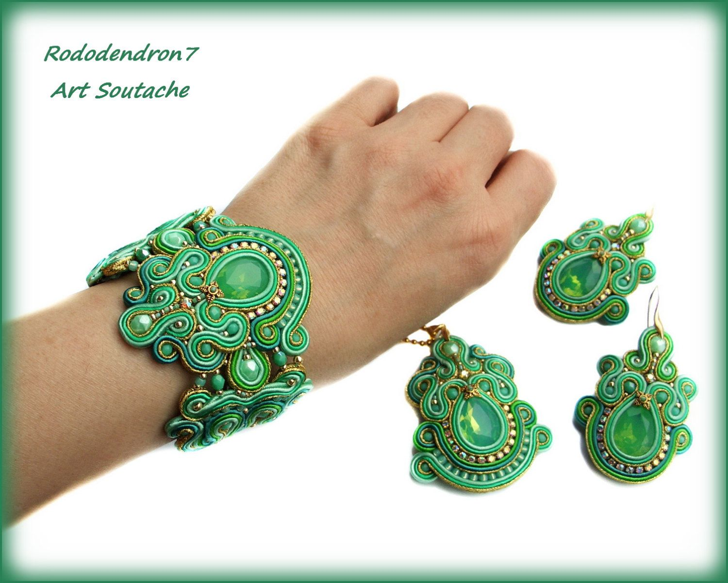 Soutache pendant very elegant eyecatching and by rododendron7
