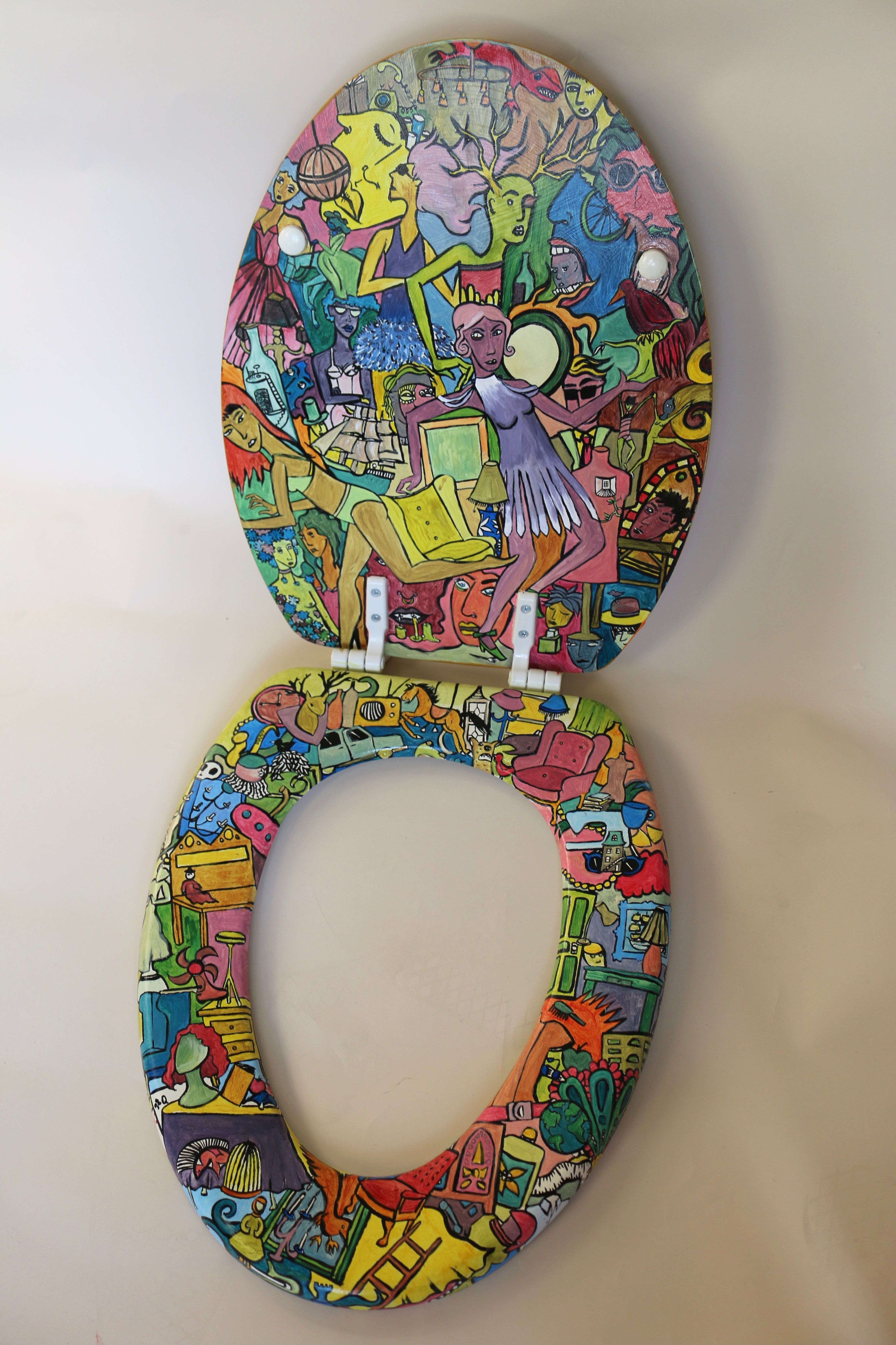 Hand Painted Toilet Seat By Madeline Manning Madmanware
