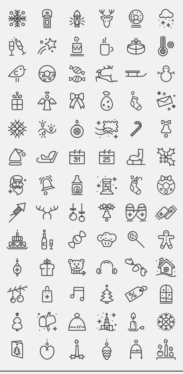 Christmas Icon Set Ajandalar Yazma Fikirleri Ve Maddeli Gunlukler