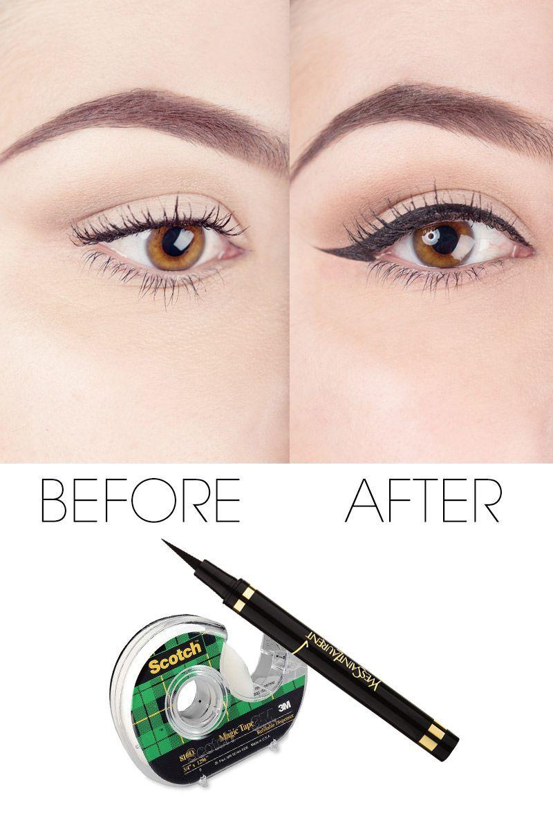 Before And After Eyeliner Tape Eye Liner Tricks Dramatic Makeup