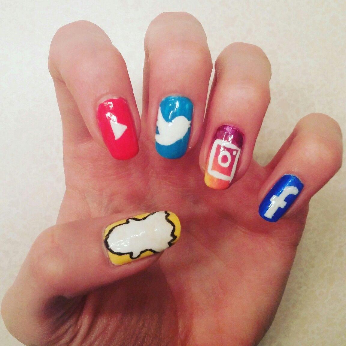 Social Media Nails #nailart #nerdnails #socialmedia #youtube ...