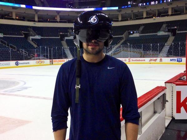 Winnipeg Jets Devin Setoguchi Wears The Player Of The Game Helmet Winnipeg Jets Jets Hockey Hockey Life