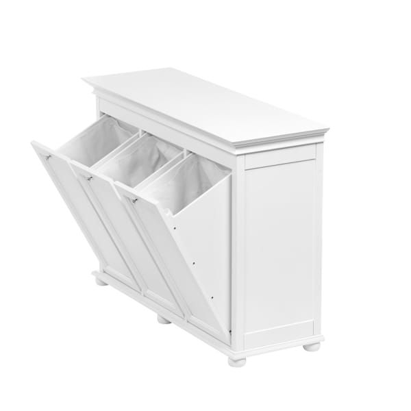 Home Decorators Collection Hampton Harbor 37 In Triple Tilt Out Hamper In White Bf 20939 Wh In 2020 Tilt Out Hamper Laundry Room Cabinets Home Decorators Collection