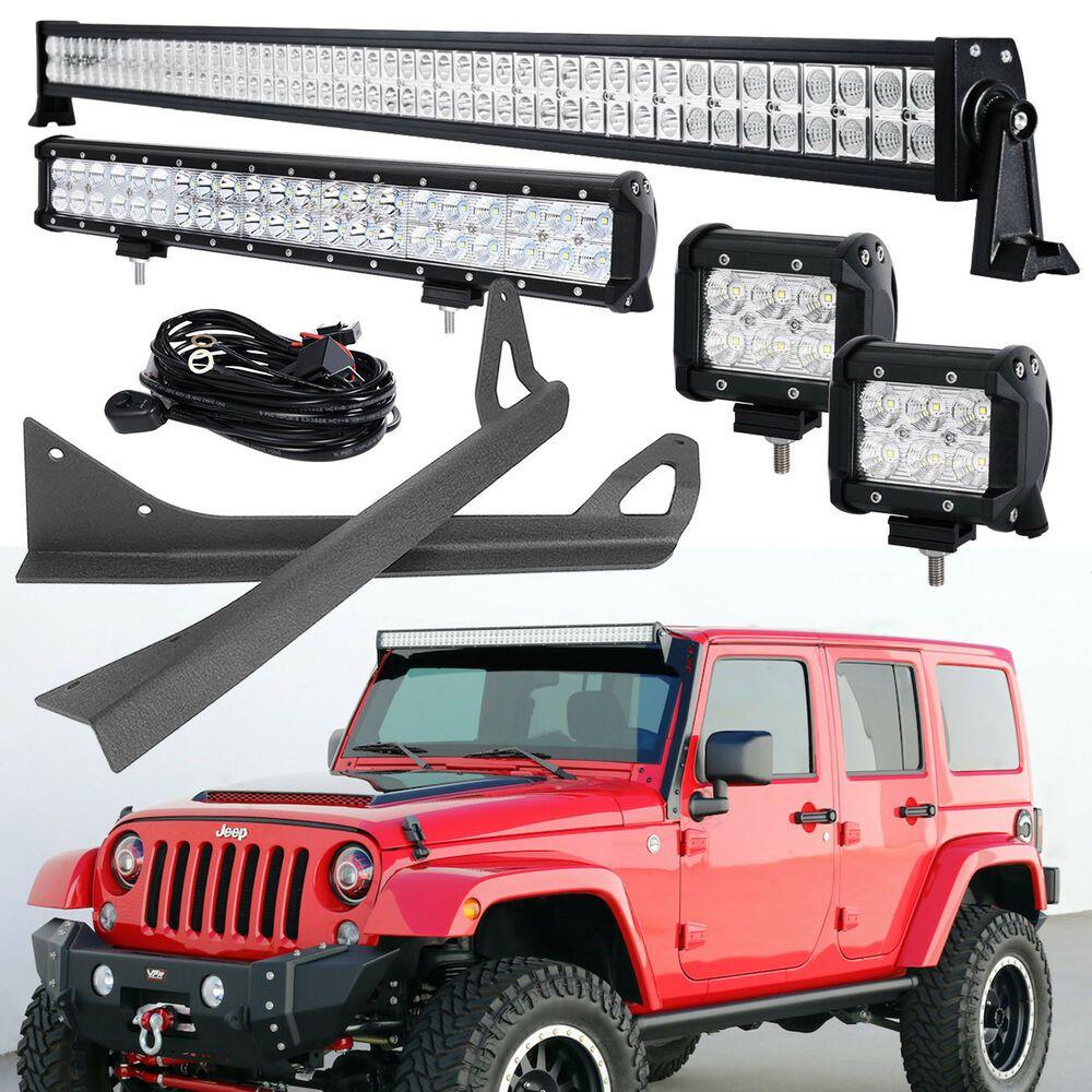 Sponsored Ebay 52inch 700w 20 Led Light Bar 18w Pods Mount Bracket Fit For Jeep Wrangler Jk Jeep Wrangler Yj Jeep Wrangler Jeep Wrangler Jk