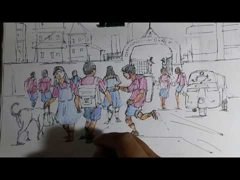 Memory drawing school going children how to draw scenery ...