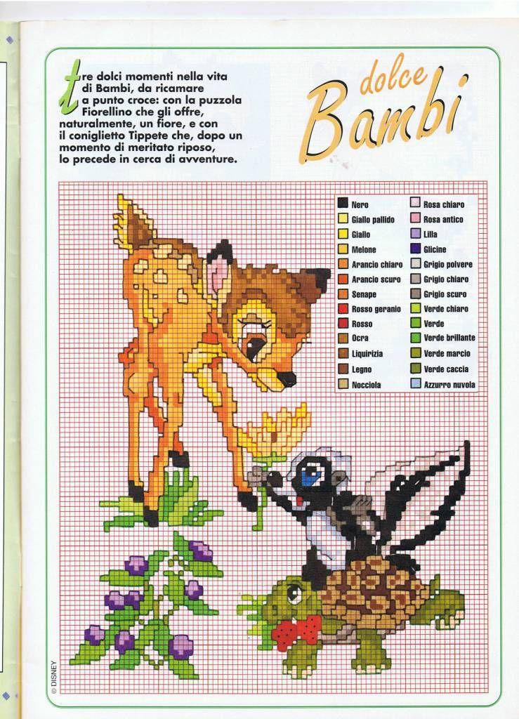 Bambi e la puzzola schema punto croce bambi pinterest for Disney punto croce schemi gratis