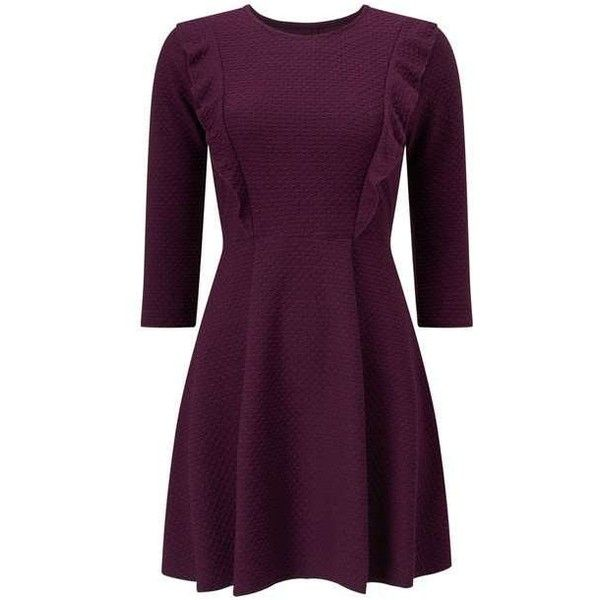 PETITE Frill Skater Dress (345 RON) ❤ liked on Polyvore featuring dresses, frill dress, petite skater dress, ruffle dress, purple skater dress and skater dress