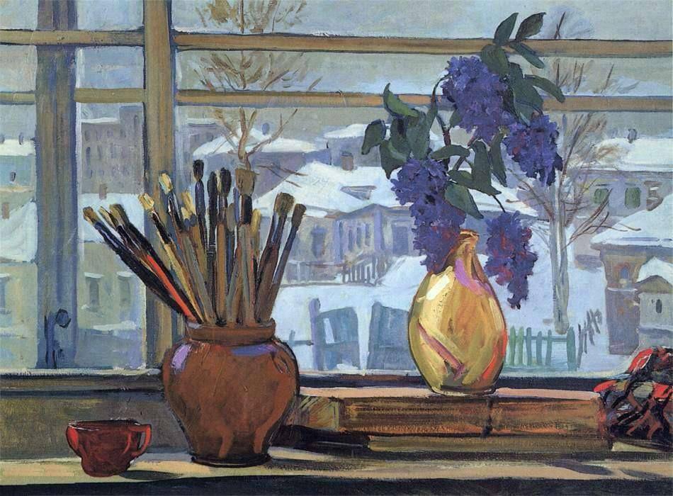 """Дейнека Александр Александрович, """"Окно в мастерской"""", 1947 г. Холст, масло, 65,5*90 см"""