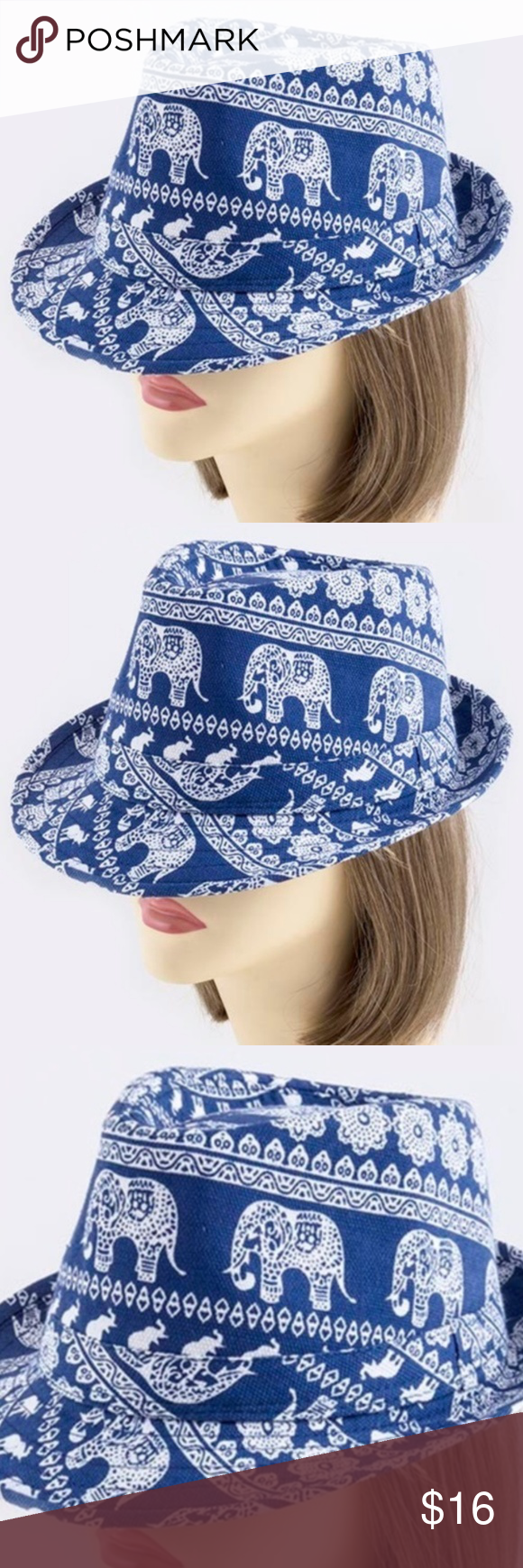 ELEPHANT FEDORA HAT NWT- ONE SIZE FITS MOST / BLUE FASHION BOUTIQUE Accessories Hats #fedoras