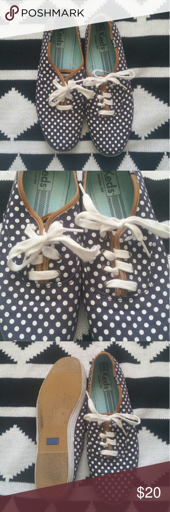 Navy + White Polka Dot Keds Navy and white polka dot Keds. Size 9.5.  Camel details. Gently used (Worn a few times) Still in great condition! Fun, casual shoe! Keds Shoes Sneakers