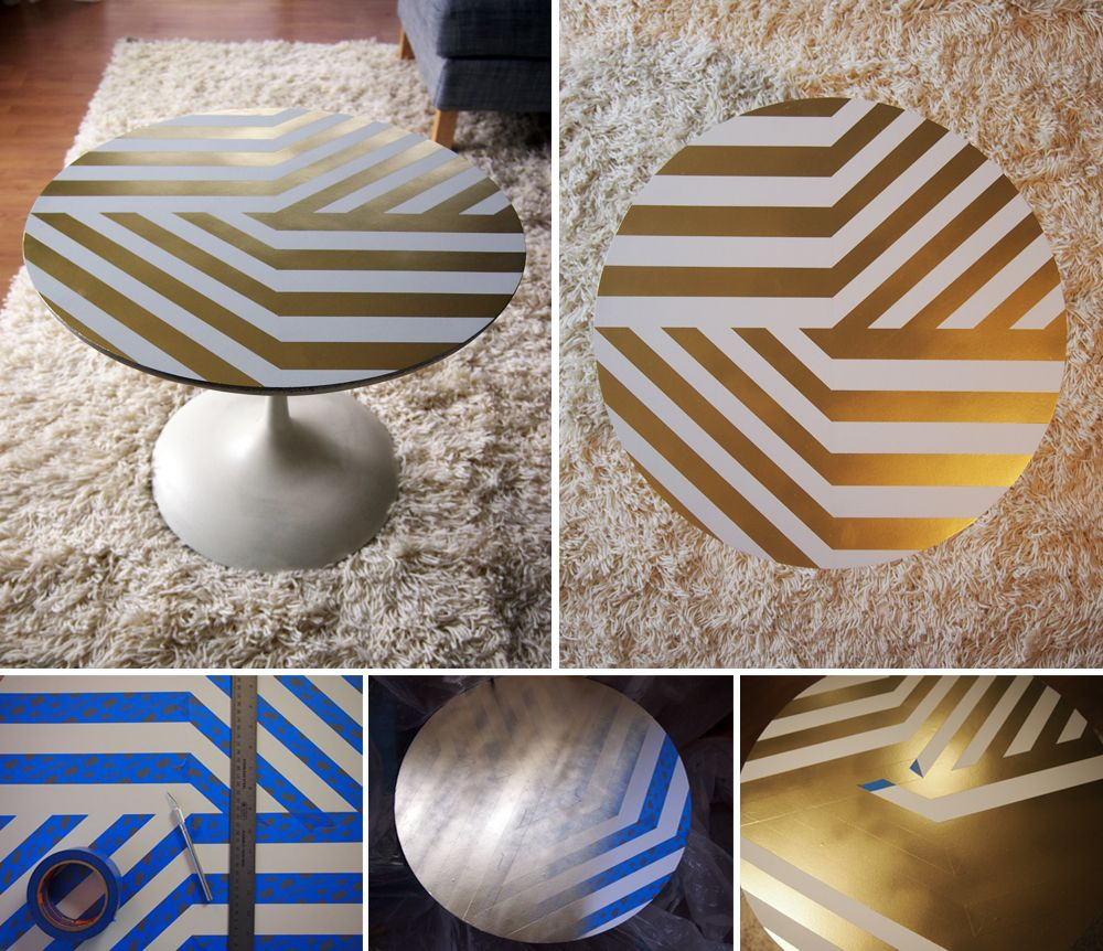 Creative Taping And A Can Of Gold Spray Paint Table Makeover Painted Table Tops Decor