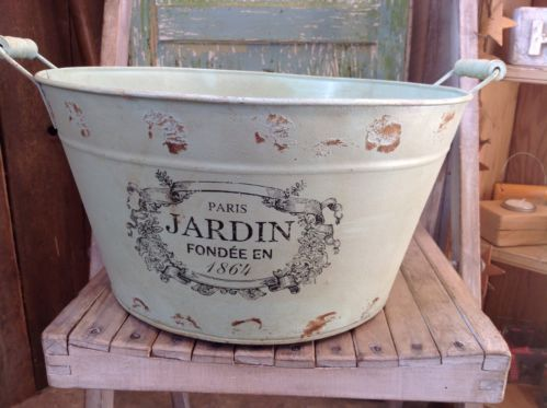 French Planter/Washtub, vintage style, metal, shabby chic, distressed green.