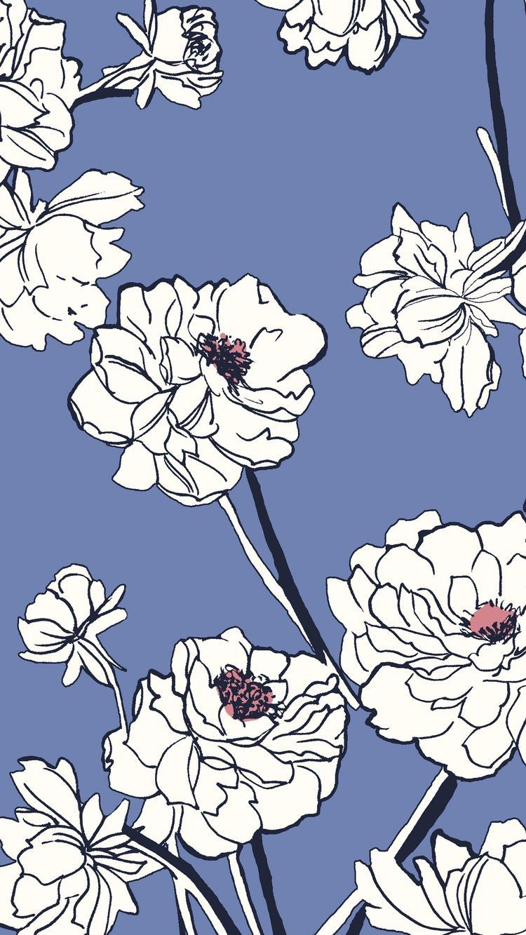 Iphone Blue And White Floral Wallpaper