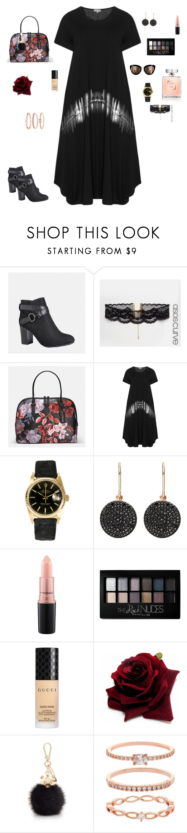 """""""First ✌️✌️"""" by fitriamaliag ❤ liked on Polyvore featuring Avenue, ASOS Curve, Rolex, Astley Clarke, MAC Cosmetics, Maybelline, Gucci, Furla and Accessorize"""