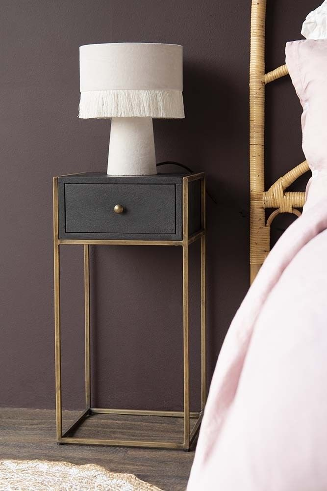 Minimal Nightstand In Black With Drawer And Open Storage Cabinet
