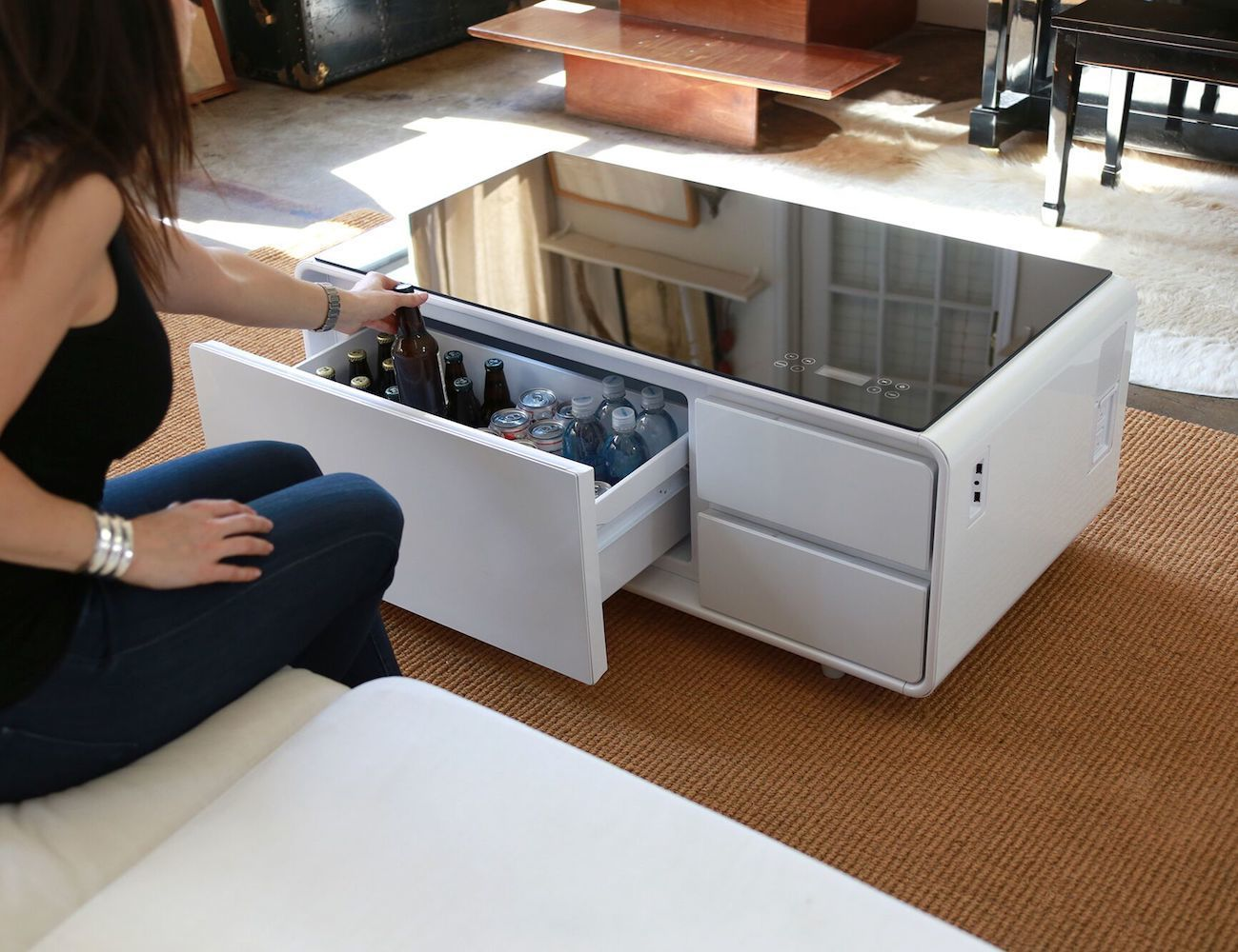 This modern furniture is complete with a refrigerator