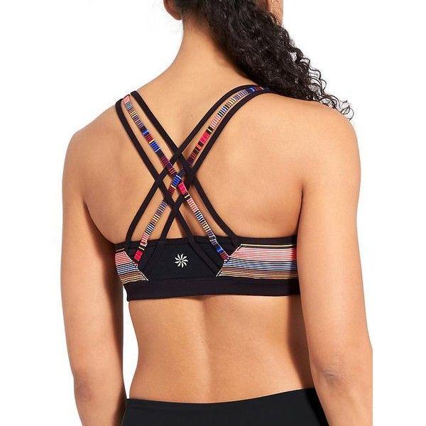 Athleta Women Havana Stripe Fully Focused Bra ($59) ❤ liked on Polyvore featuring activewear, sports bras, multi, athleta sports bra, red sports bra, striped sports bra, athleta and athleta sportswear