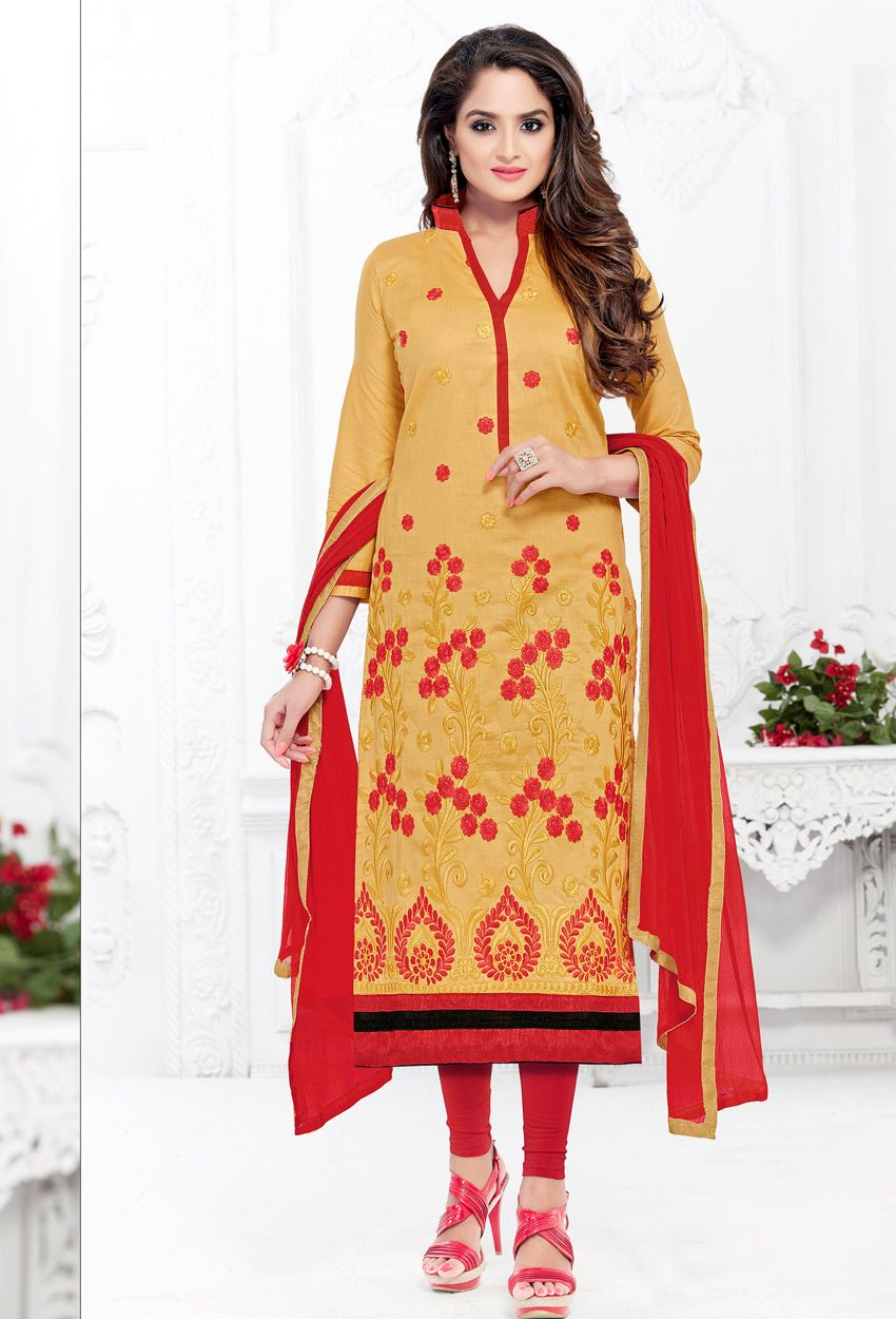 5825019a30 #Yellow And #Red #Cotton #Straight Cut #Suit #nikvik #usa #designer  #australia #canada #freeshipping #suits