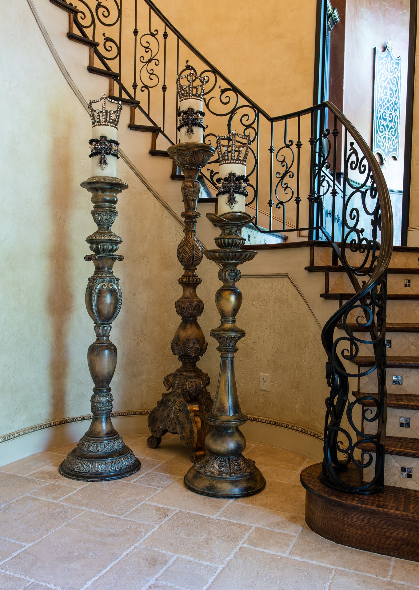impressive tall candle stands for foyer by designer donna