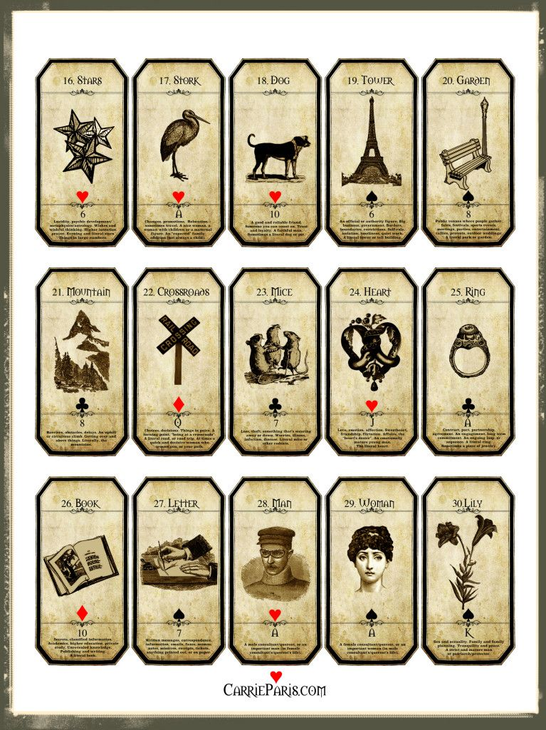 Lenormand flashcards 1630 free to print use