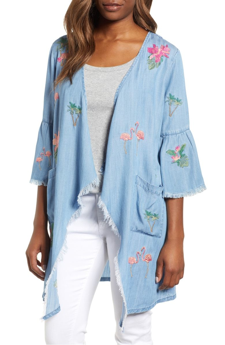 a07f3d1ee79 Nordstrom - Billy T Flamingo Embroidered Chambray Kimono ...