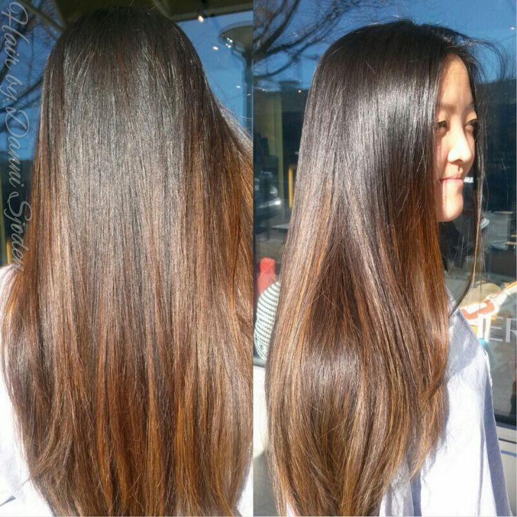 Caramel Ombre Highlights On Dark Brown Straight Hair Hairstyle