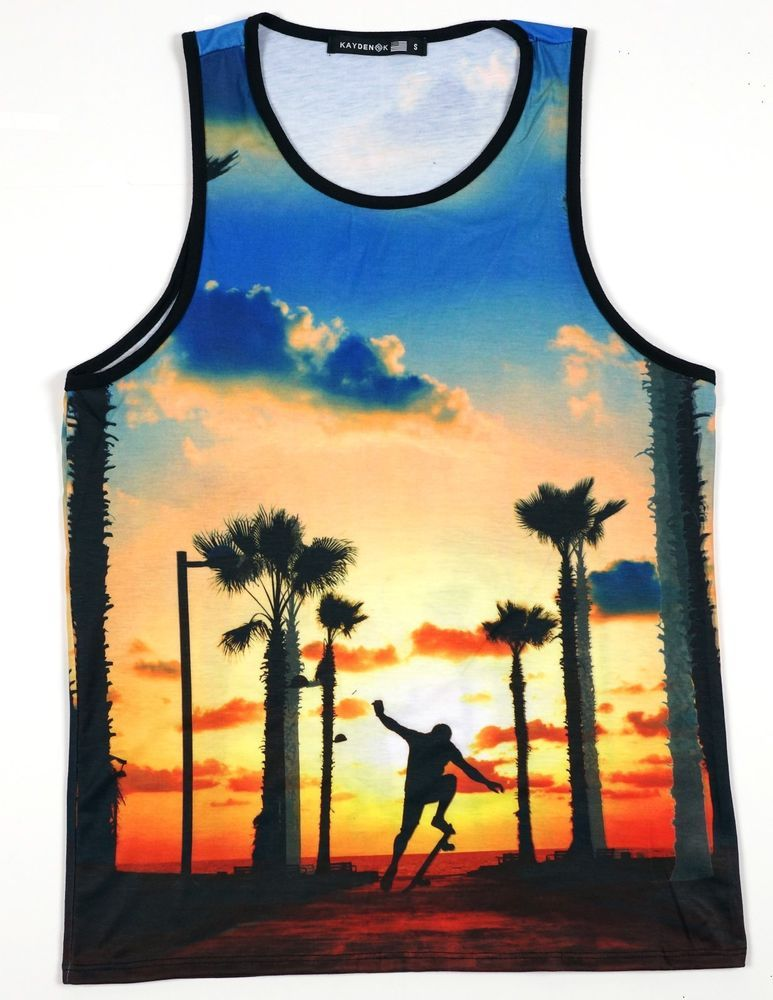 caa2063778df1 K Mens Sublimation Tank Top California Sunset Skater Boy 2 sides printed   KAYDENK  GraphicTee cali dreaming palm trees skateboard shadow muscle  shirt style ...