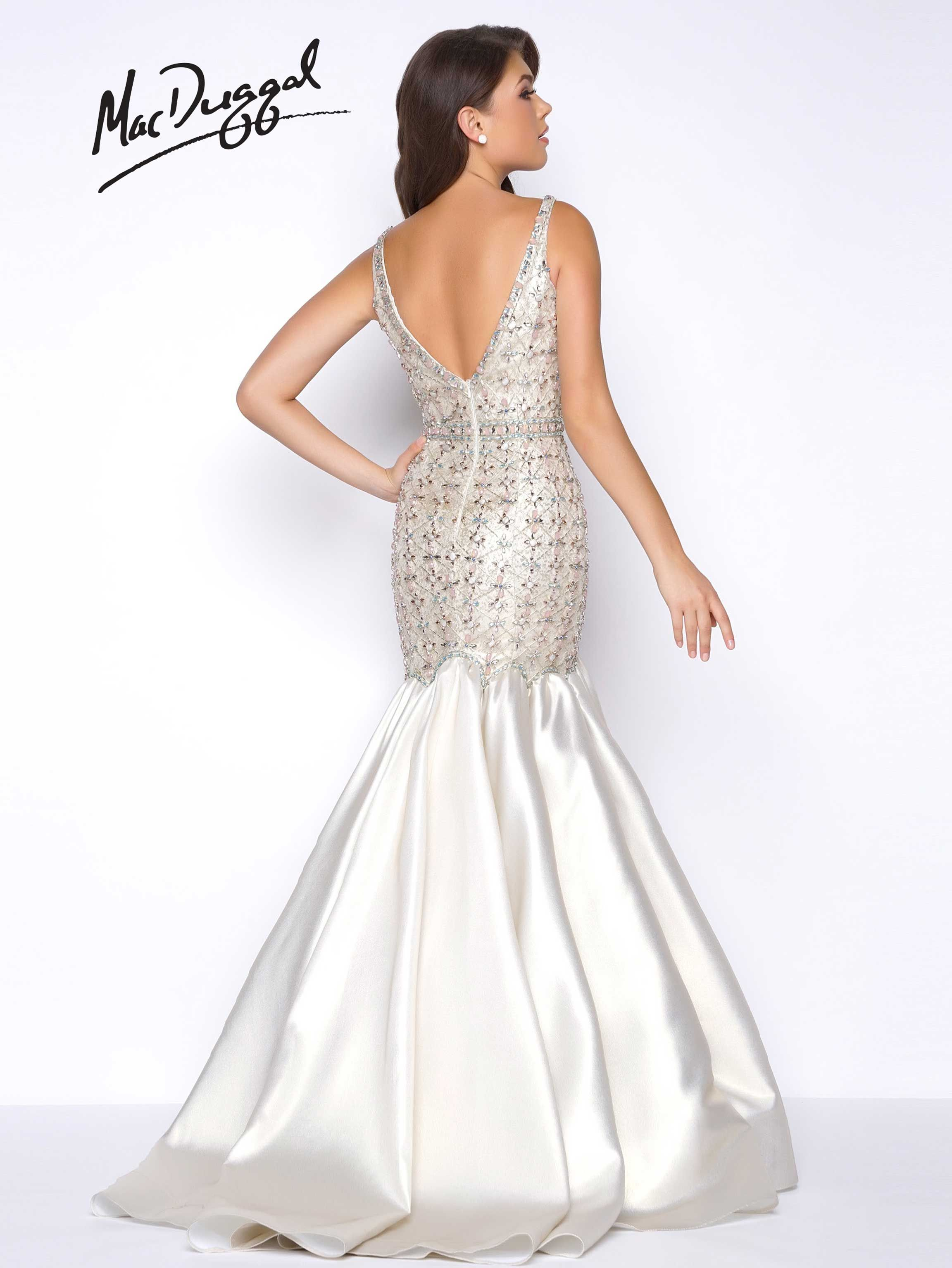 Light gold deep vneck satin mermaid prom dress with beaded bodice