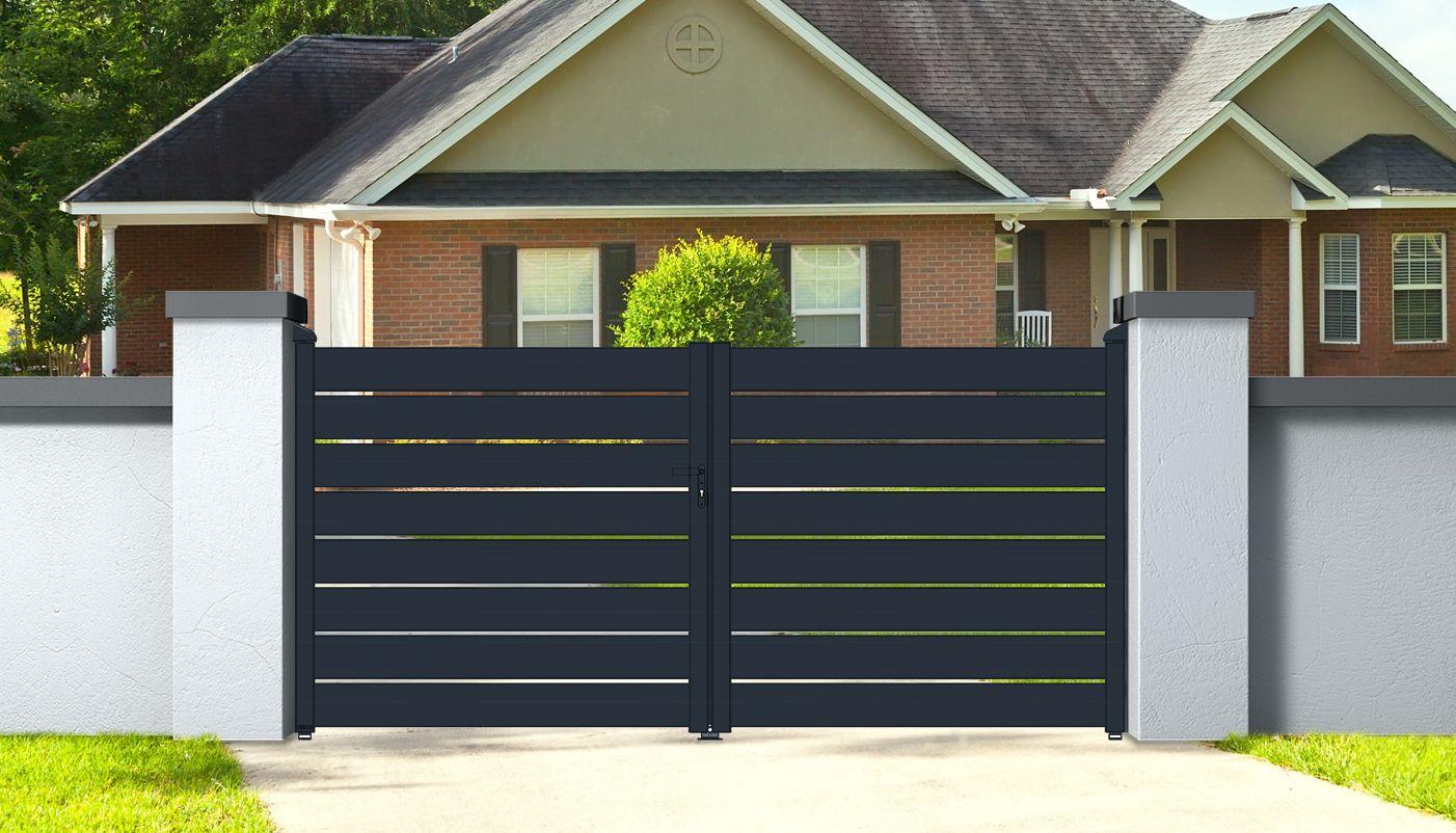 Portail Aluminium Ajustable 3 5m Double Battants Easysize Portail Aluminium Portail Jardin Moderne