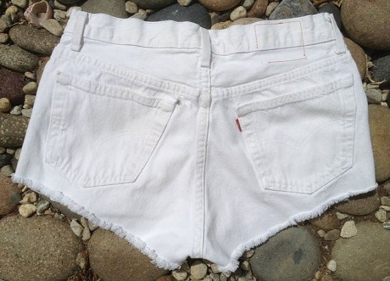 7bc99c5cea For guys who like short shorts: white Levi's denim shorts 501 button fly  size 33 at whackytacky.com, $29.99