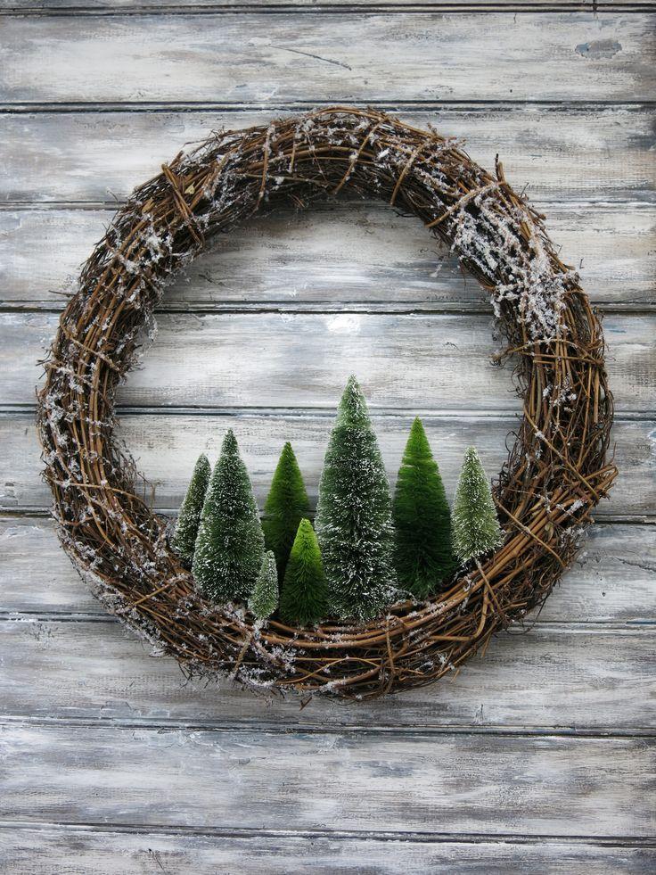 Primitive & rustikale 18 Kranz mit Bäumen ... Original Design & von Maine Artis gemacht ... #baumen #design #kranz #maine #original #primitive #rustikale #rustikaleweihnachten