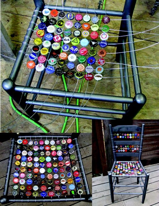 """got this idea from all the fun bottle cap art i've collected from africa. first you need an old chair that needs a new seat. i spray painted this one with a cool ..."