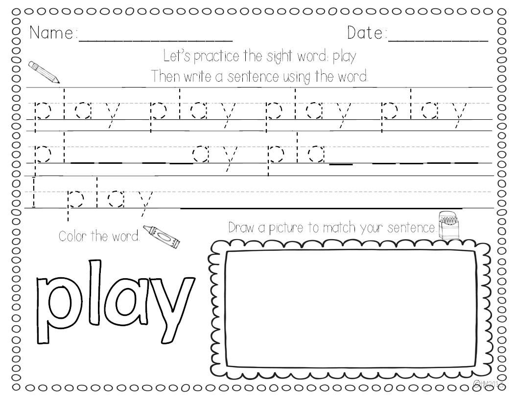 Sight Word Writing Practice Bundle Pack Sight Words Kindergarten Sight Word Writing Practice Sight Words