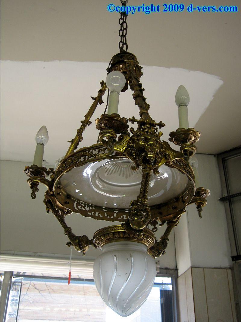 Chandelier antique gas light bronze lion heads etched glass art chandelier antique gas light bronze lion heads etched glass arubaitofo Images