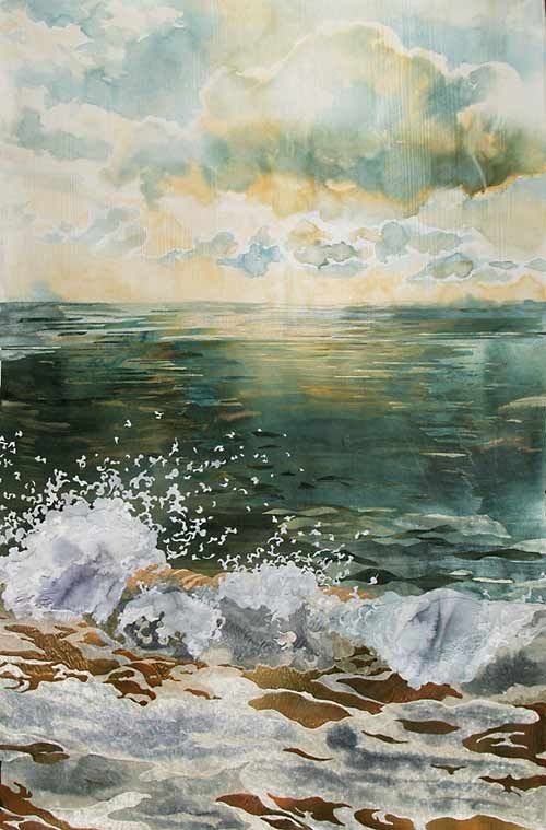 detail of Teal Sea and Clouds by Amanda Richardson - click to return