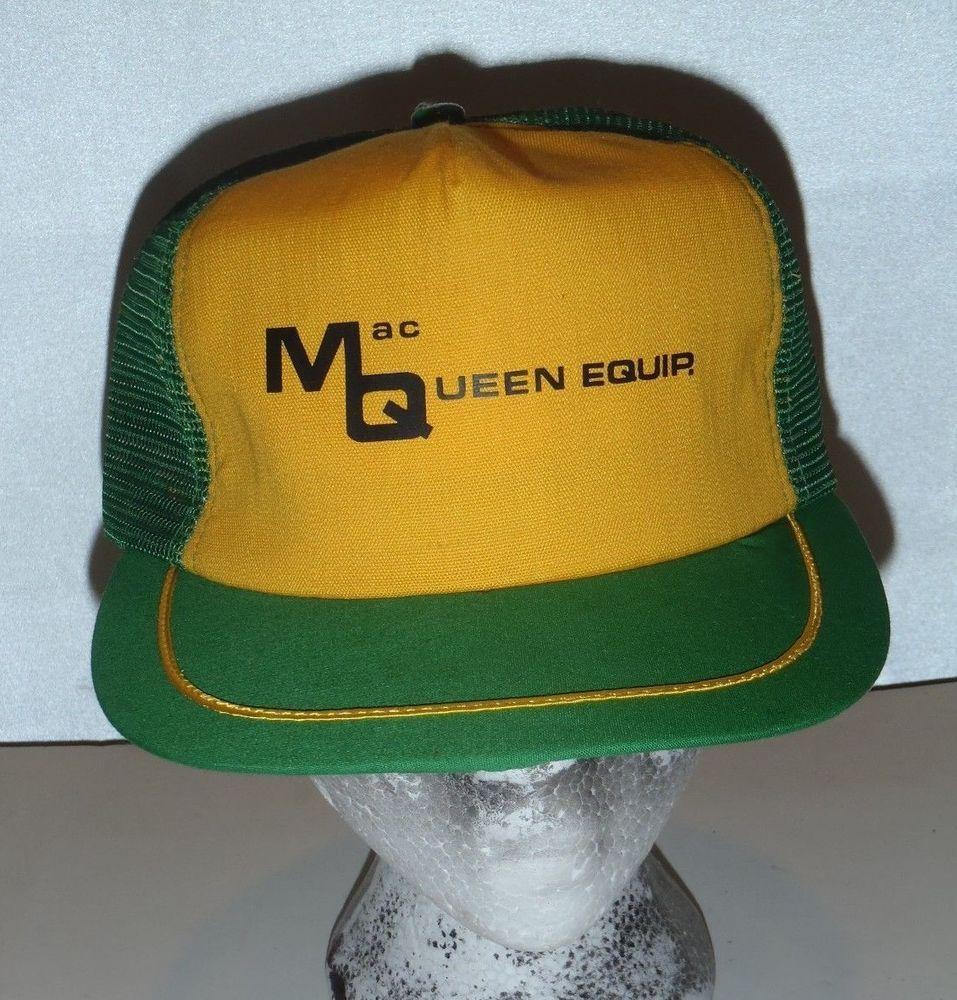 VTG MacQueen Equipment Inc. Mesh Snapback Trucker Hat Gold Green St. Paul  Mn.  TruckerHat 9dce7f93259e