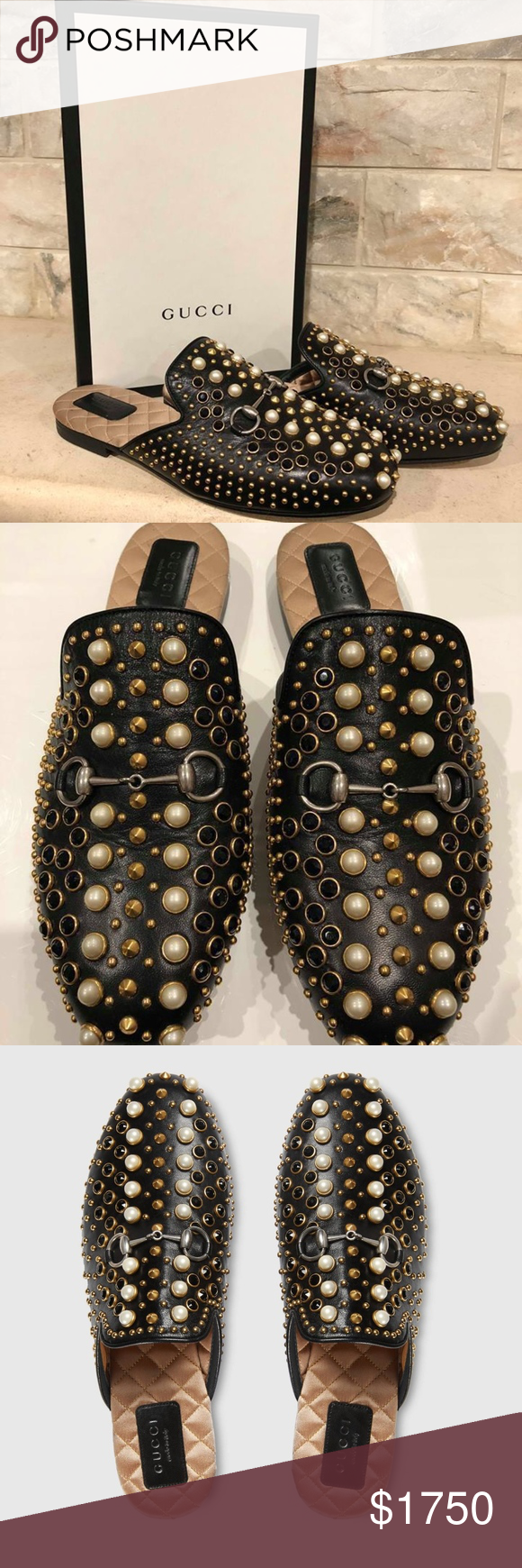 464cc790d Gucci Princetown Black Leather Pearl Stud Slide Gucci Princetown Black  Leather Pearl Stud Slide Loafer Mule