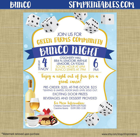 Bunco Flyer Invitation Template Church School Community Fundraiser - fundraiser invitation templates